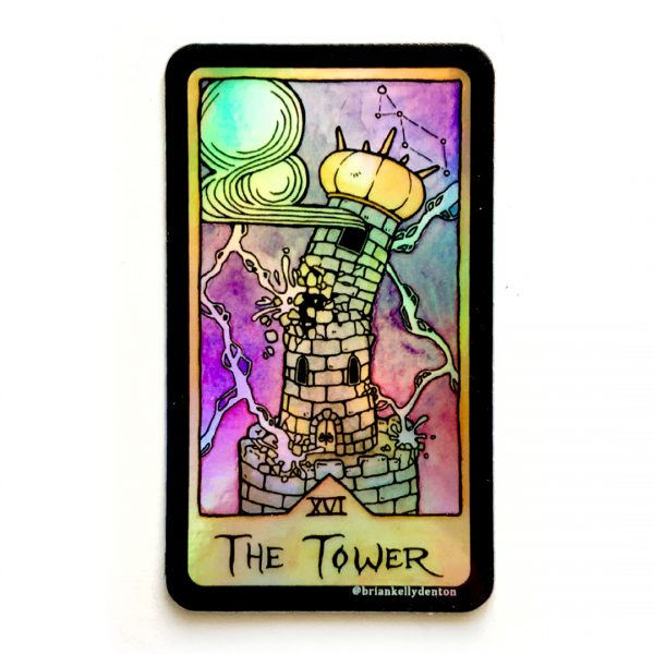 THE TOWER Holographic Tarot Sticker