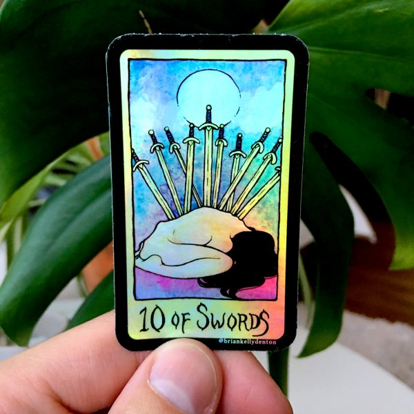 10 OF SWORDS Holographic Tarot Sticker